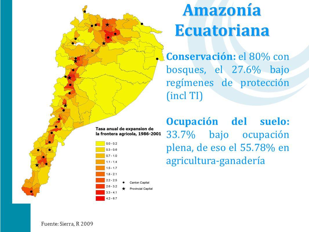 Amazonía Ecuatoriana Conservación: el 80% con bosques, el 27.6% bajo regímenes de protección (incl TI)