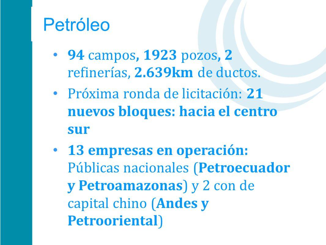 Petróleo 94 campos, 1923 pozos, 2 refinerías, 2.639km de ductos.