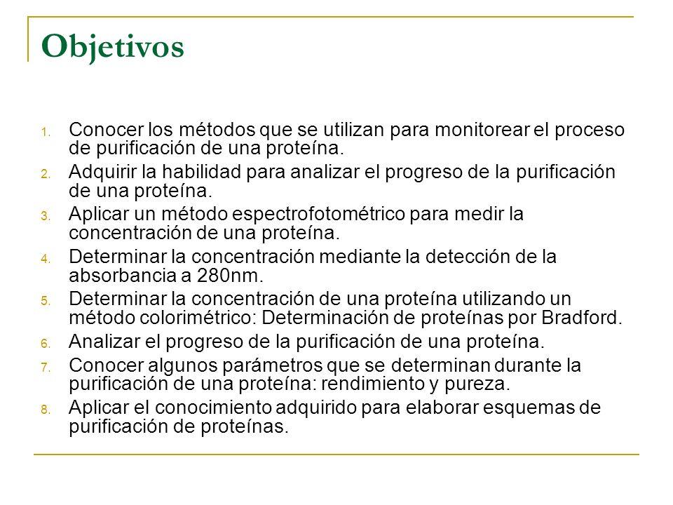 Objetivos Conocer los métodos que se utilizan para monitorear el proceso de purificación de una proteína.