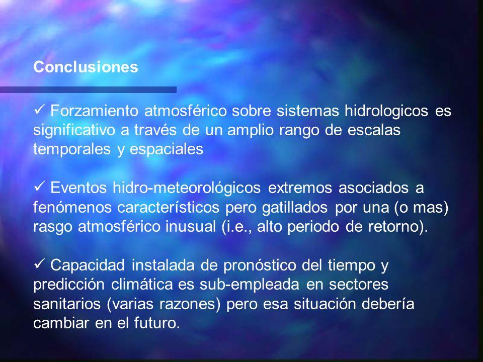 Conclusiones Forzamiento atmosférico sobre sistemas hidrologicos es significativo a través de un amplio rango de escalas temporales y espaciales.