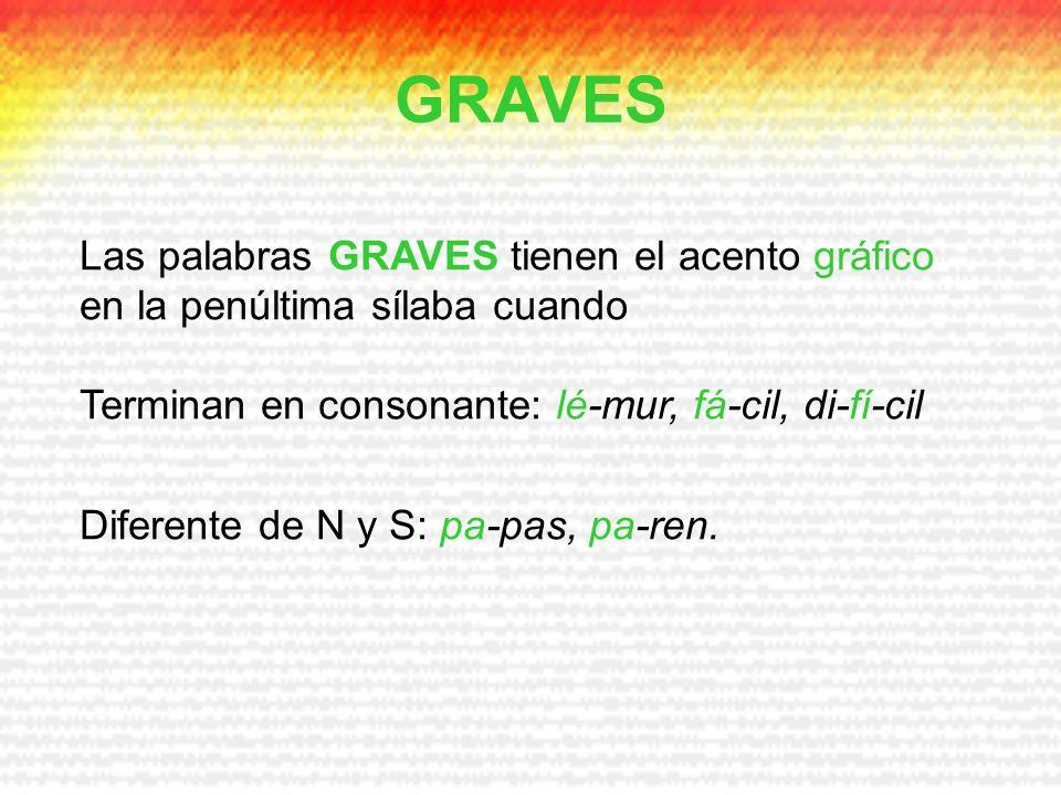 GRAVES Las palabras GRAVES tienen el acento gráfico en la penúltima sílaba cuando. Terminan en consonante: lé-mur, fá-cil, di-fí-cil.
