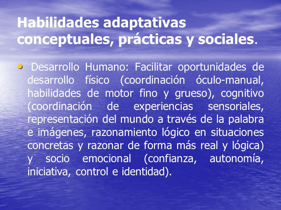 Habilidades adaptativas conceptuales, prácticas y sociales.