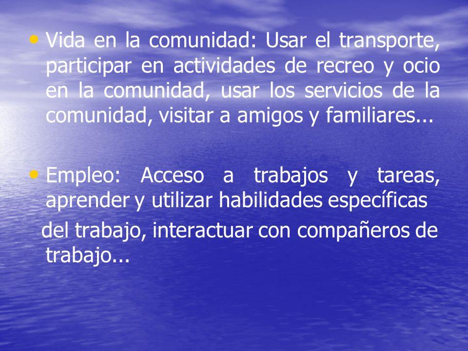 Vida en la comunidad: Usar el transporte, participar en actividades de recreo y ocio en la comunidad, usar los servicios de la comunidad, visitar a amigos y familiares...