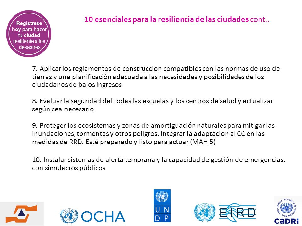 10 esenciales para la resiliencia de las ciudades cont..