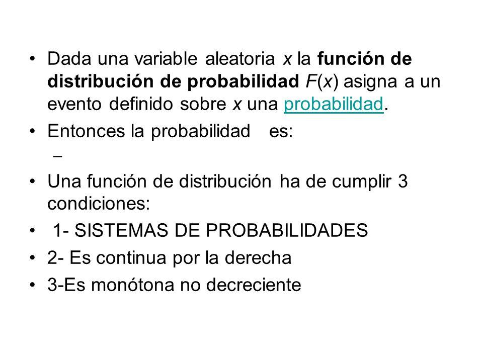 Dada una variable aleatoria x la función de distribución de probabilidad F(x) asigna a un evento definido sobre x una probabilidad.