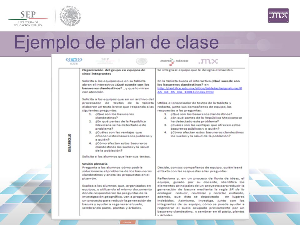 Ejemplo de plan de clase