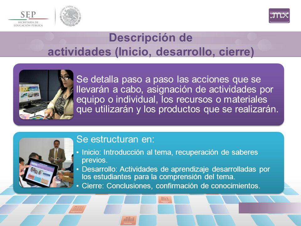Descripción de actividades (Inicio, desarrollo, cierre)
