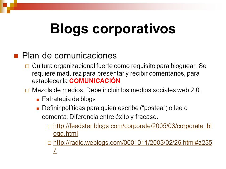 Blogs corporativos Plan de comunicaciones