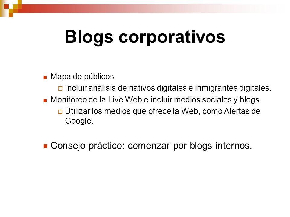 Blogs corporativos Consejo práctico: comenzar por blogs internos.