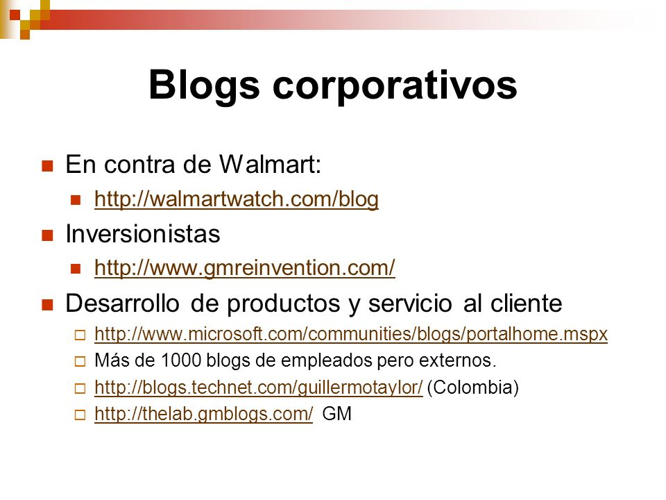 Blogs corporativos En contra de Walmart: Inversionistas