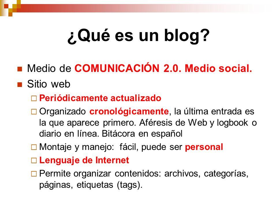 ¿Qué es un blog Medio de COMUNICACIÓN 2.0. Medio social. Sitio web