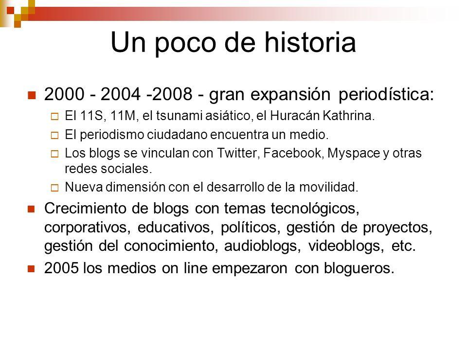 Un poco de historia 2000 - 2004 -2008 - gran expansión periodística: