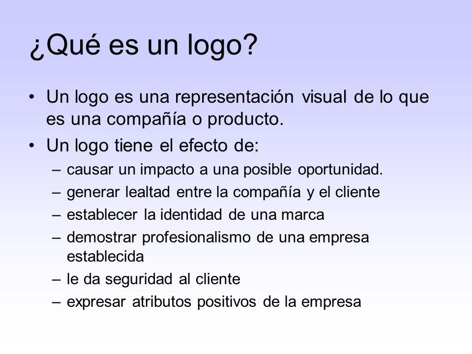¿Qué es un logo Un logo es una representación visual de lo que es una compañía o producto. Un logo tiene el efecto de: