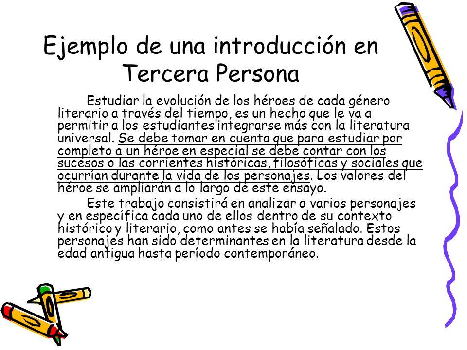 Ejemplo de una introducción en Tercera Persona