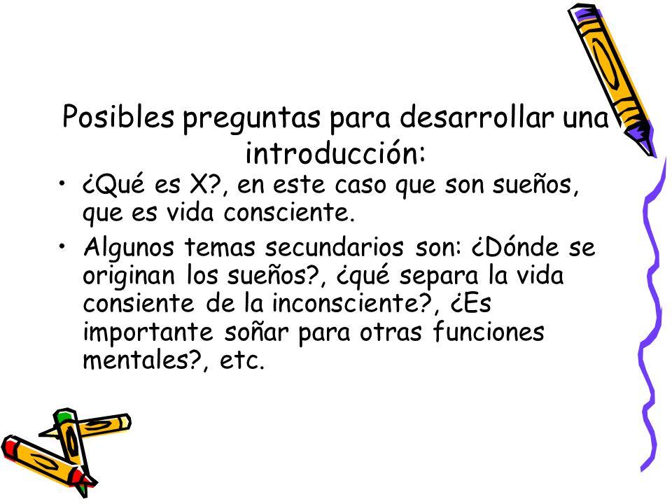 Posibles preguntas para desarrollar una introducción: