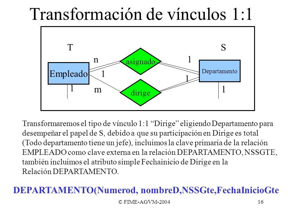 Transformación de vínculos 1:1