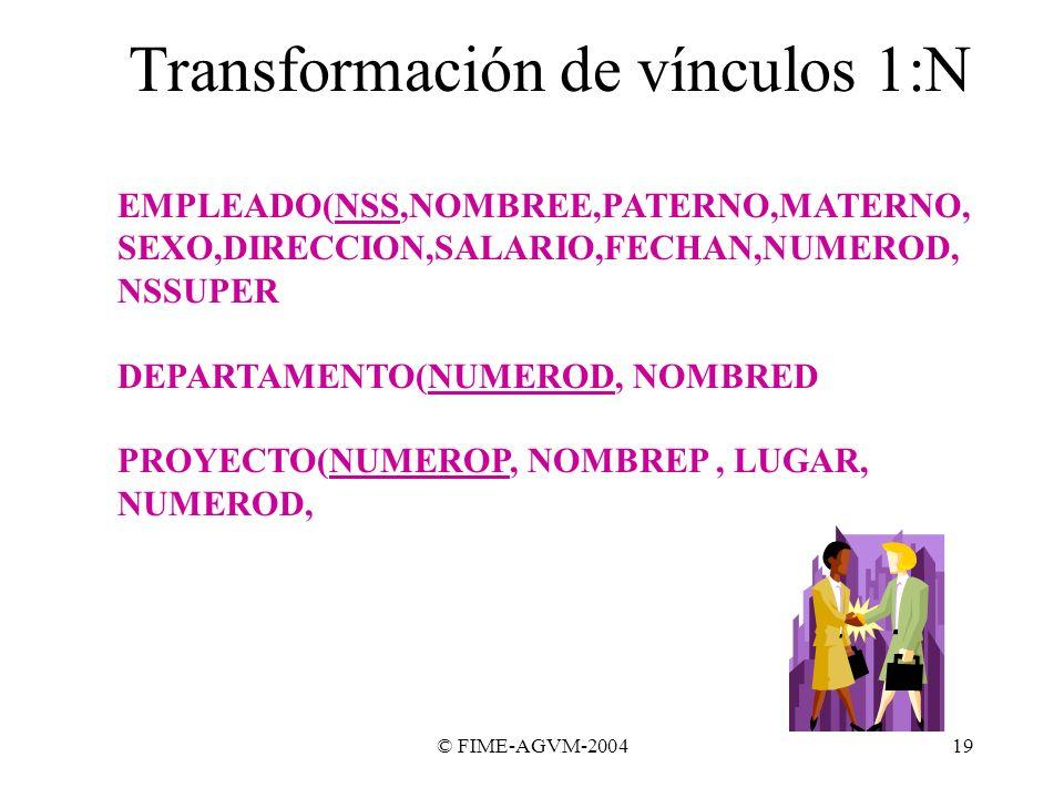 Transformación de vínculos 1:N