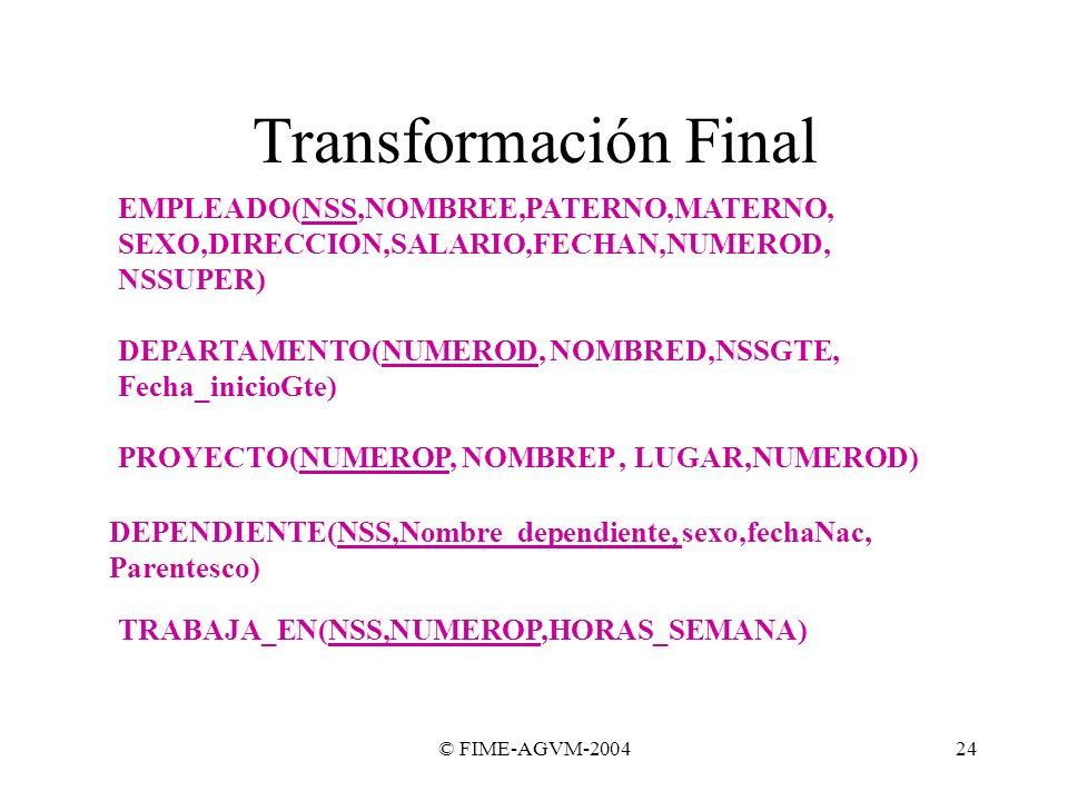 Transformación Final EMPLEADO(NSS,NOMBREE,PATERNO,MATERNO,