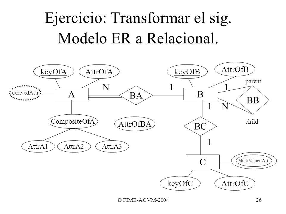 Ejercicio: Transformar el sig. Modelo ER a Relacional.