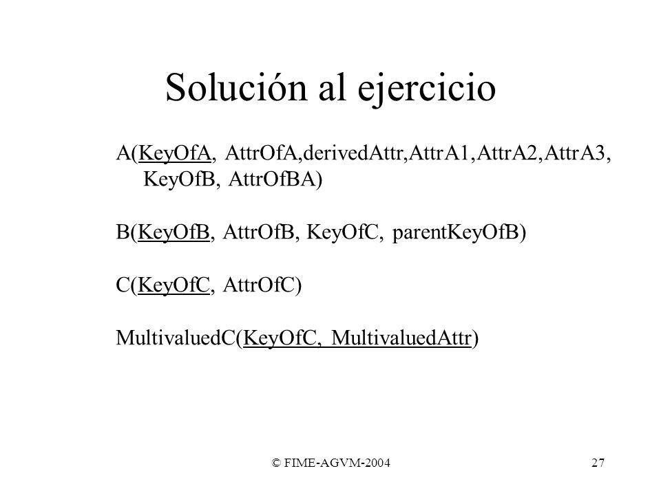 Solución al ejercicioA(KeyOfA, AttrOfA,derivedAttr,AttrA1,AttrA2,AttrA3, KeyOfB, AttrOfBA) B(KeyOfB, AttrOfB, KeyOfC, parentKeyOfB)
