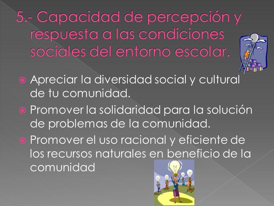 5.- Capacidad de percepción y respuesta a las condiciones sociales del entorno escolar.