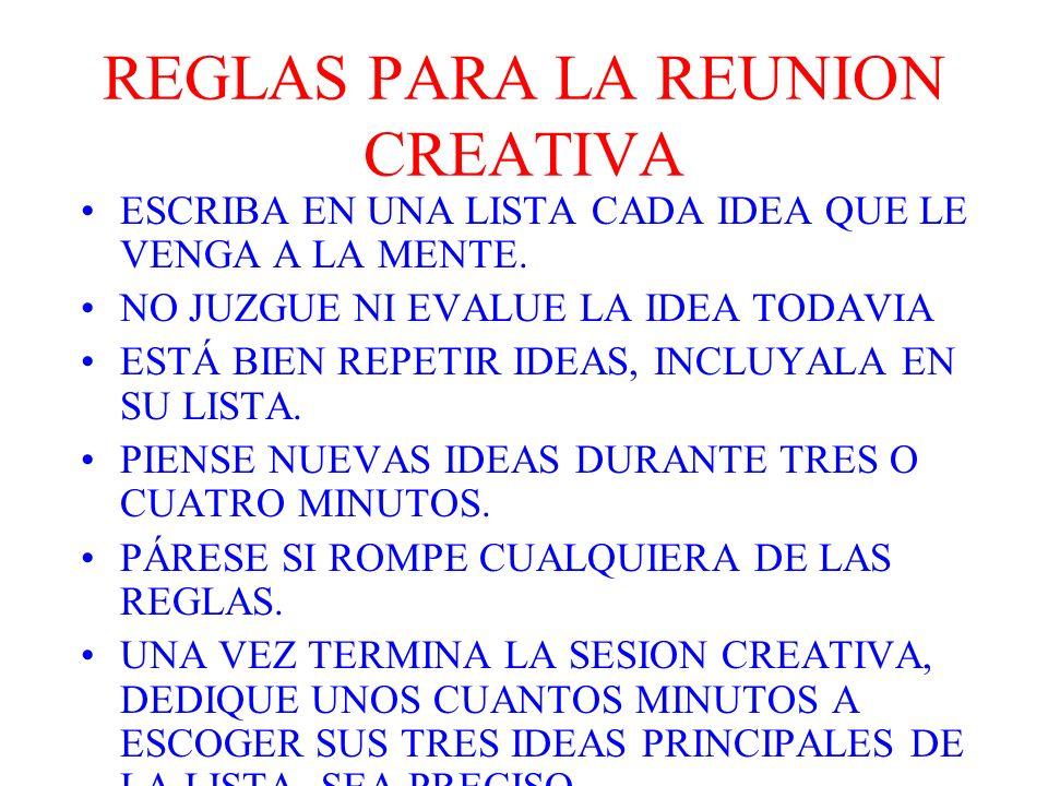 REGLAS PARA LA REUNION CREATIVA