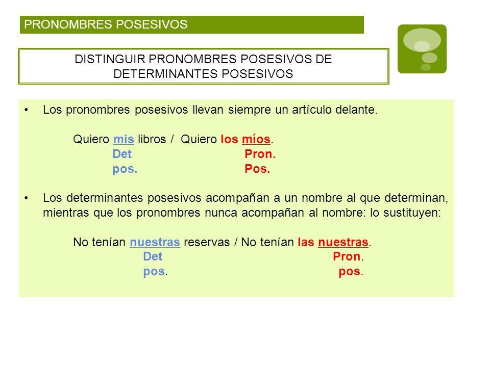 DISTINGUIR PRONOMBRES POSESIVOS DE DETERMINANTES POSESIVOS