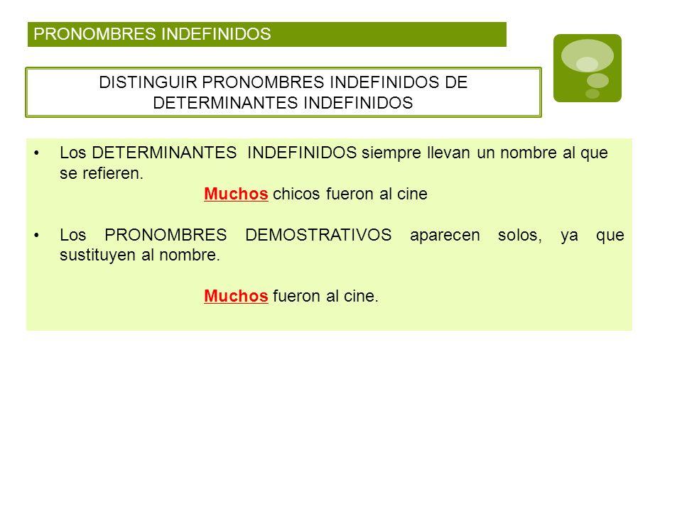 DISTINGUIR PRONOMBRES INDEFINIDOS DE DETERMINANTES INDEFINIDOS