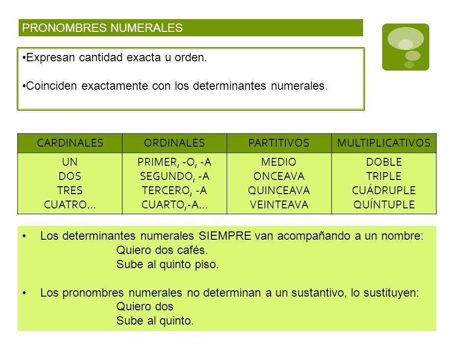 PRONOMBRES NUMERALESExpresan cantidad exacta u orden. Coinciden exactamente con los determinantes numerales.