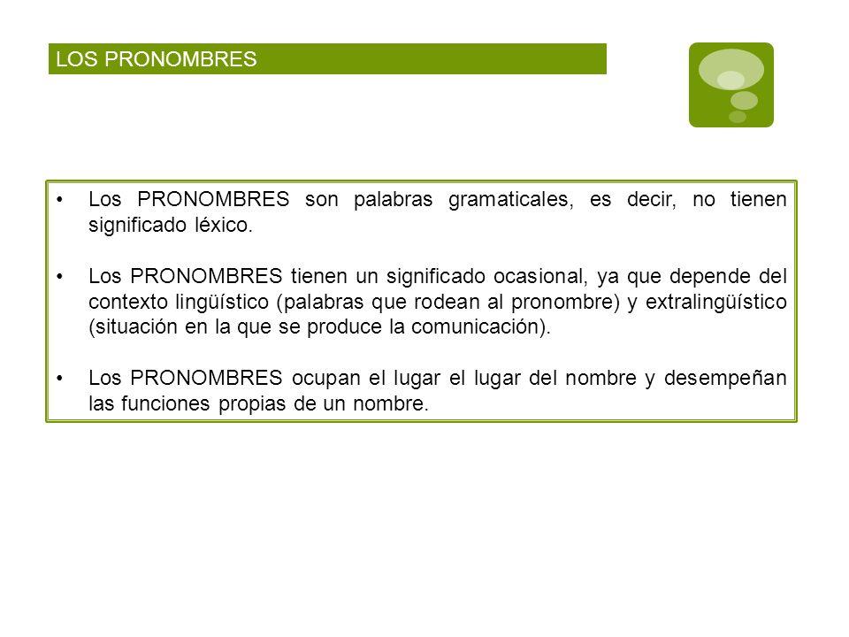 LOS PRONOMBRES Los PRONOMBRES son palabras gramaticales, es decir, no tienen significado léxico.