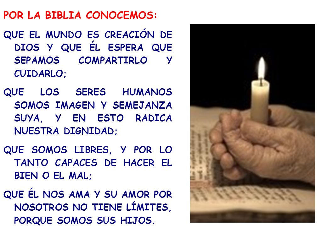 POR LA BIBLIA CONOCEMOS: