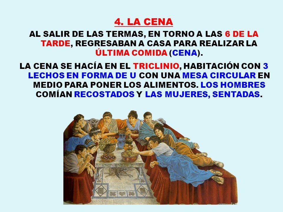 4. LA CENA AL SALIR DE LAS TERMAS, EN TORNO A LAS 6 DE LA TARDE, REGRESABAN A CASA PARA REALIZAR LA ÚLTIMA COMIDA (CENA).