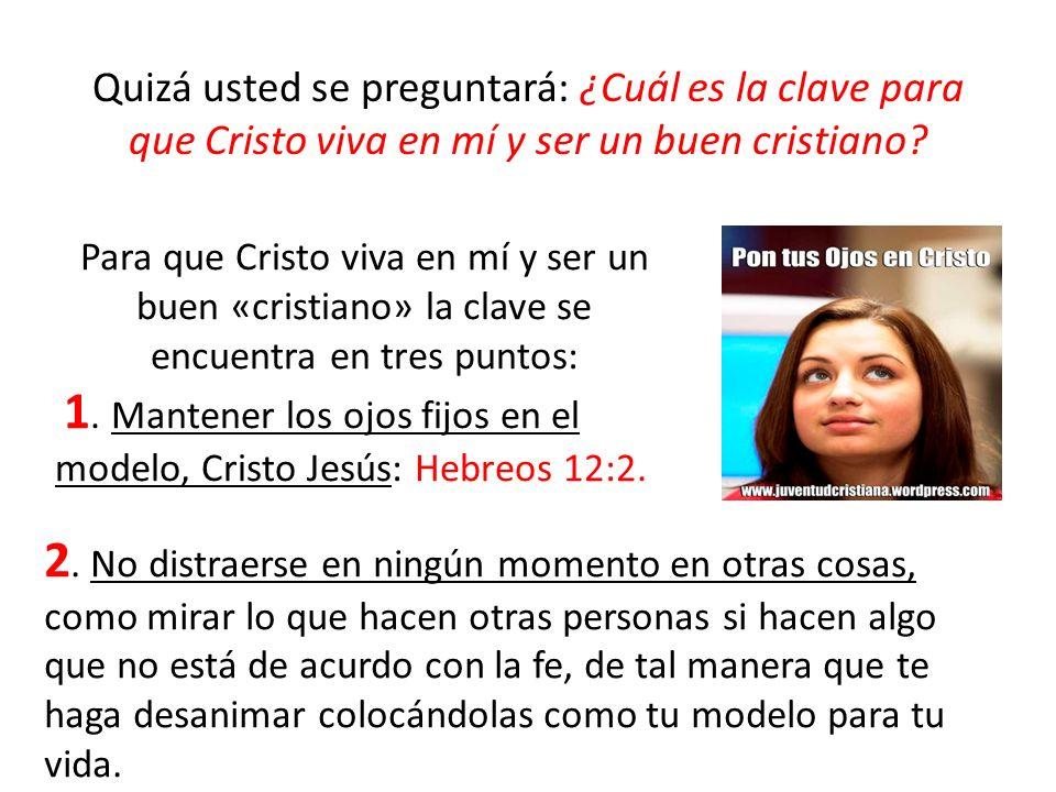 Quizá usted se preguntará: ¿Cuál es la clave para que Cristo viva en mí y ser un buen cristiano