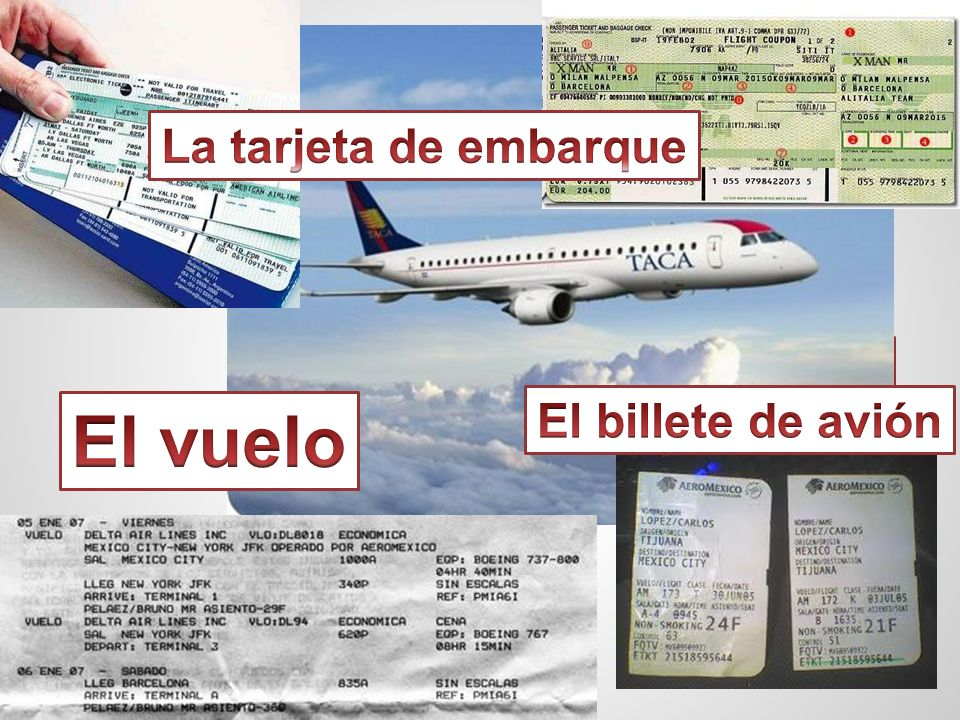 El vuelo Los boletos de avión La tarjeta de embarque