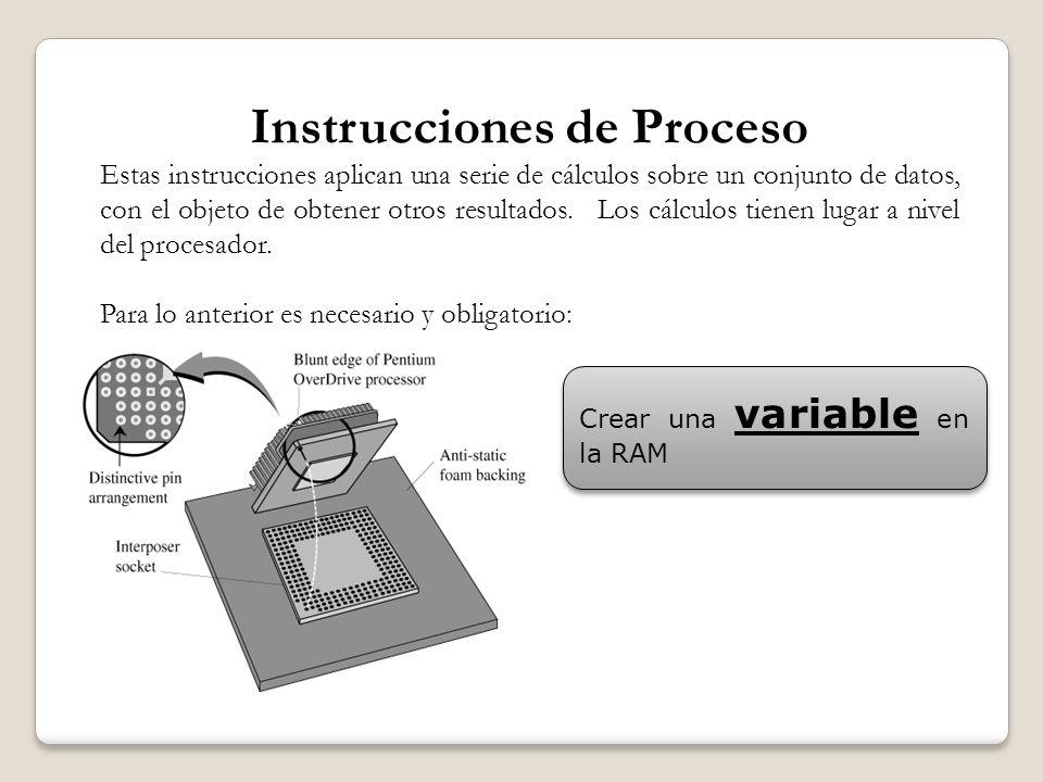 Instrucciones de Proceso