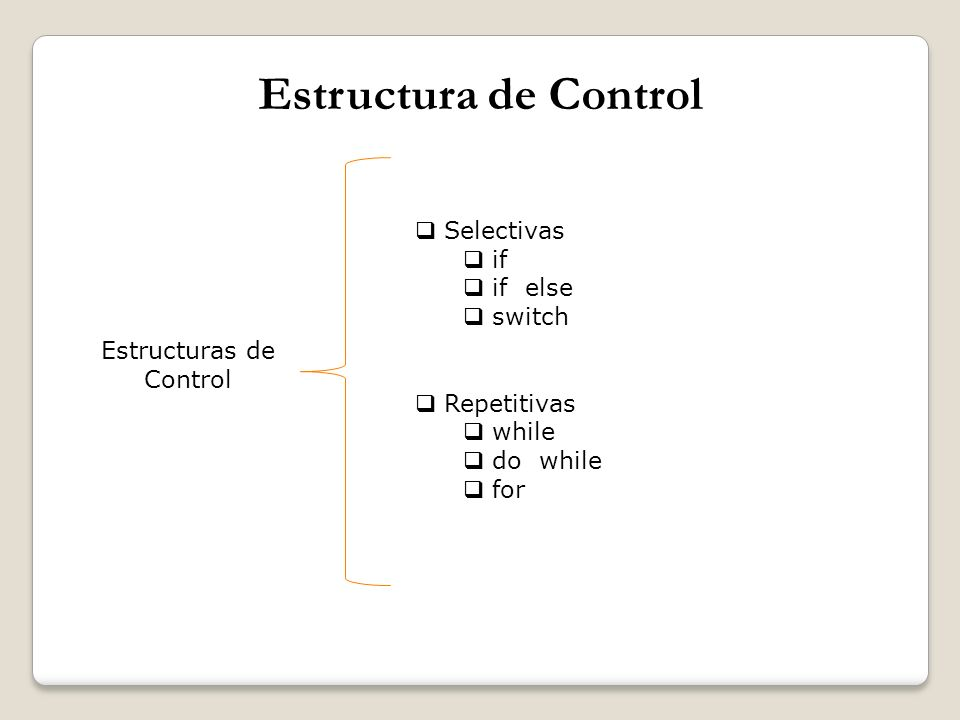 Estructura de Control Selectivas if if else switch Repetitivas while