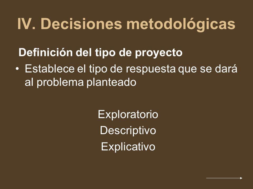 IV. Decisiones metodológicas
