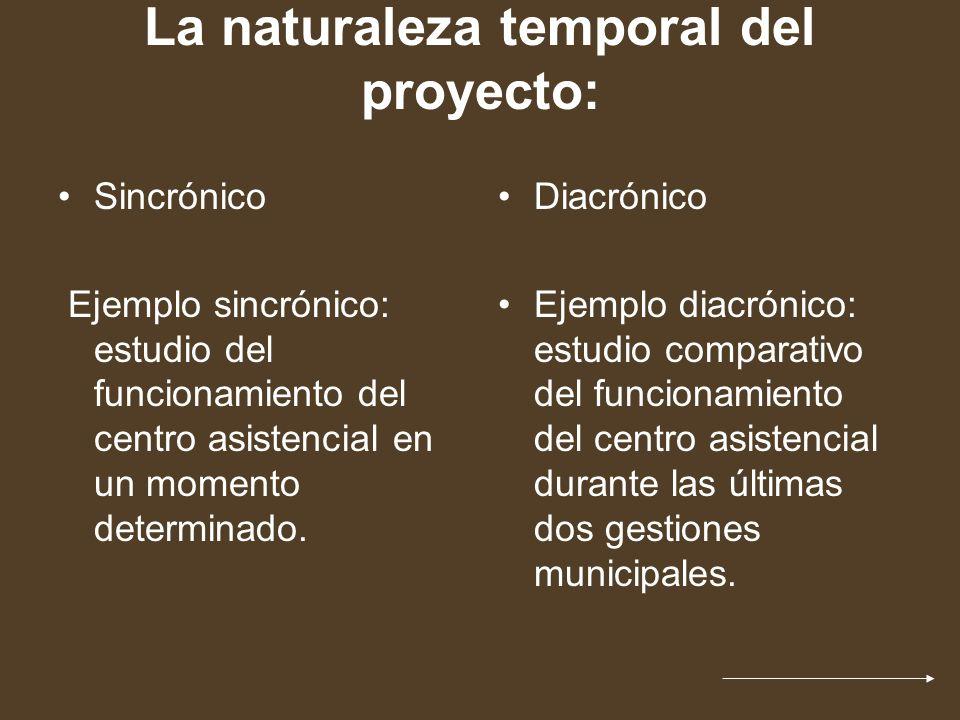 La naturaleza temporal del proyecto: