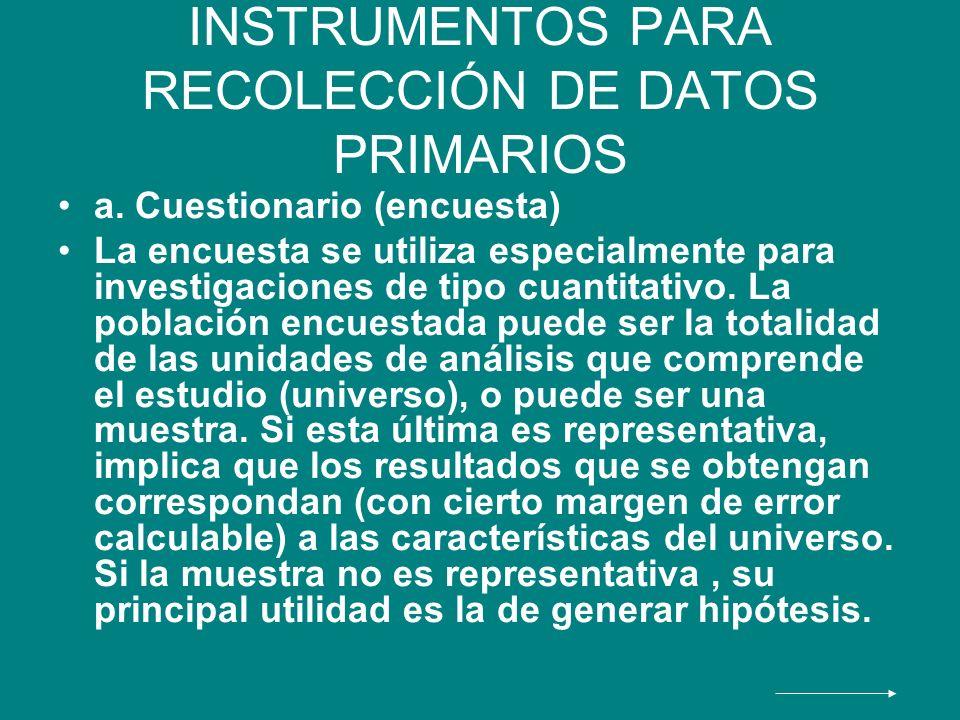 INSTRUMENTOS PARA RECOLECCIÓN DE DATOS PRIMARIOS