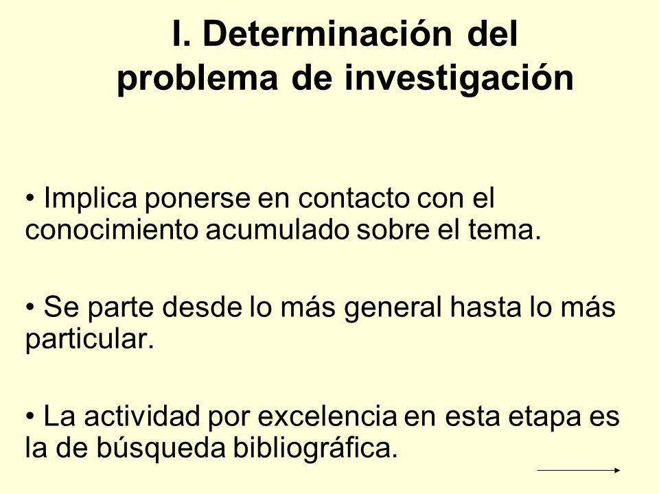 I. Determinación del problema de investigación