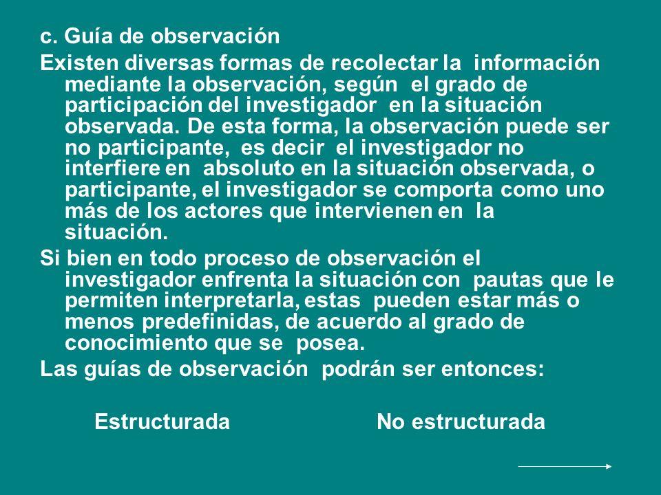 c. Guía de observación