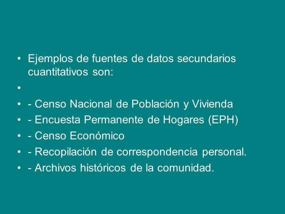 Ejemplos de fuentes de datos secundarios cuantitativos son: