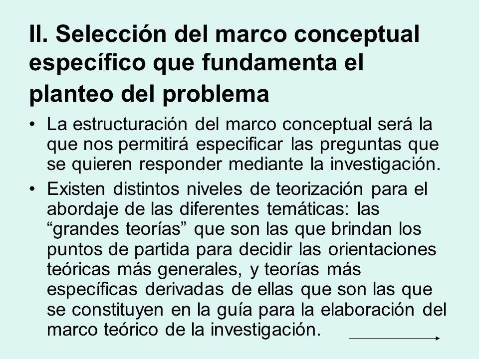 II. Selección del marco conceptual específico que fundamenta el planteo del problema