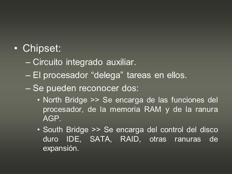 Chipset: Circuito integrado auxiliar.