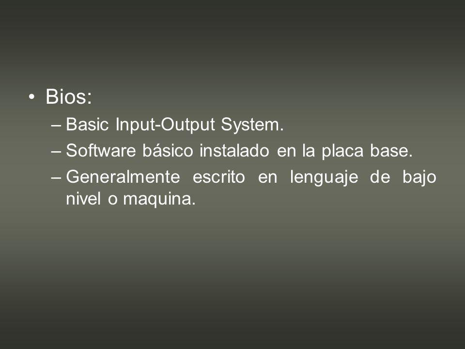 Bios: Basic Input-Output System.