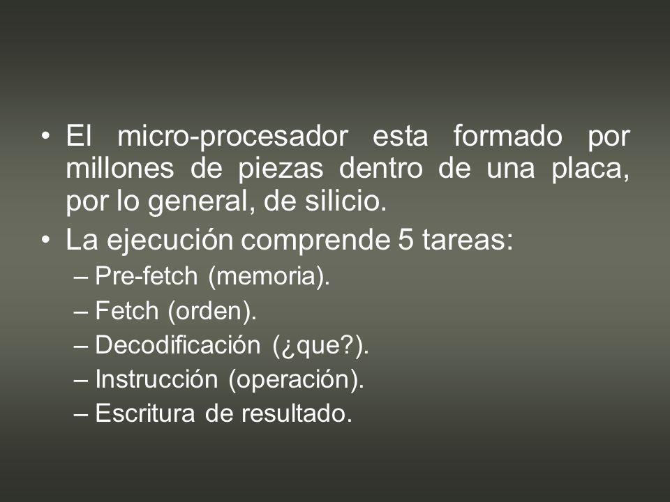 La ejecución comprende 5 tareas: