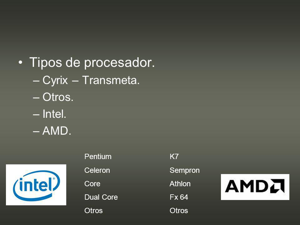 Tipos de procesador. Cyrix – Transmeta. Otros. Intel. AMD. Pentium