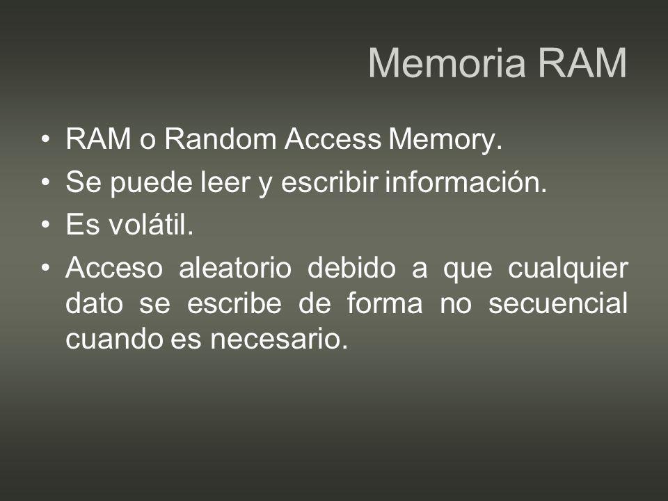 Memoria RAM RAM o Random Access Memory.