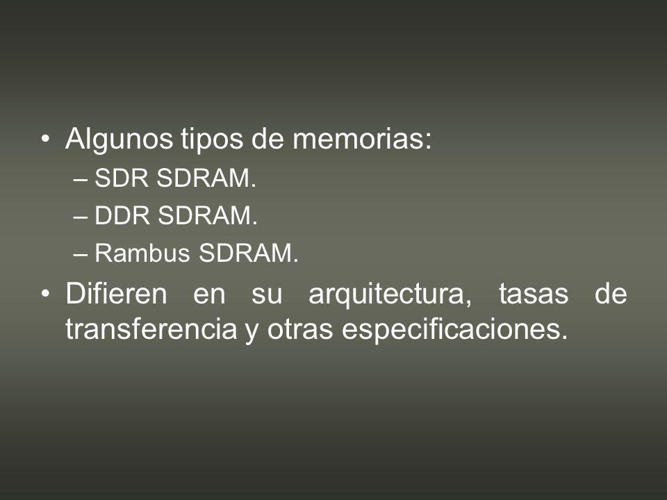 Algunos tipos de memorias: