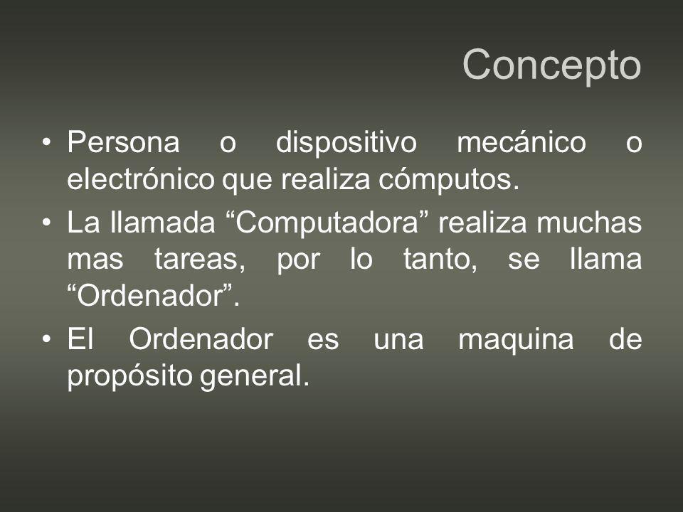 Concepto Persona o dispositivo mecánico o electrónico que realiza cómputos.